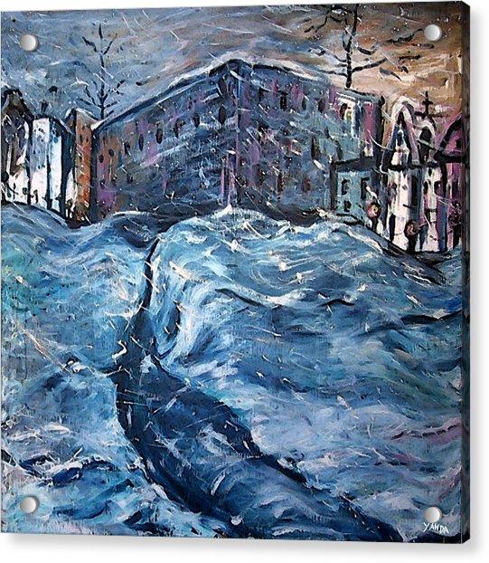 City Snow Storm Acrylic Print