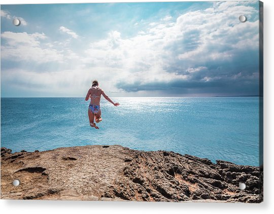 Acrylic Print featuring the photograph Cliff Jumping by Break The Silhouette