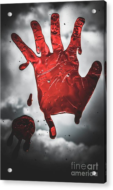 Closeup Of Scary Bloody Hand Print On Glass Acrylic Print