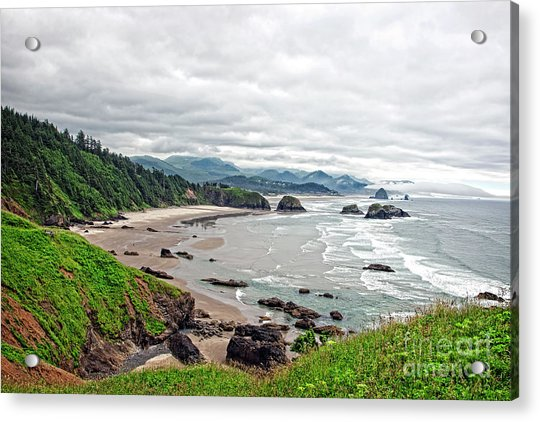 Cloudy Oregon Coast From Ecola Park Acrylic Print by Lincoln Rogers