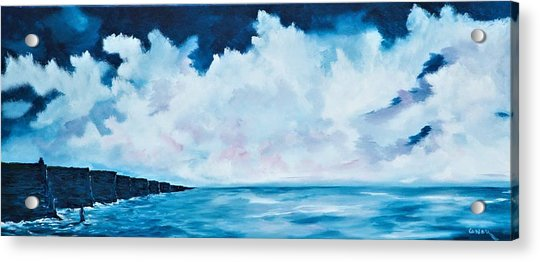 Cloudy Skies Over The Cliffs Of Moher Acrylic Print