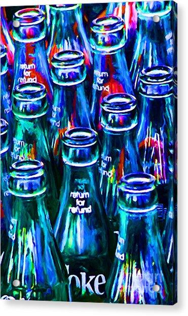 Coca-cola Coke Bottles - Return For Refund - Painterly - Blue Acrylic Print