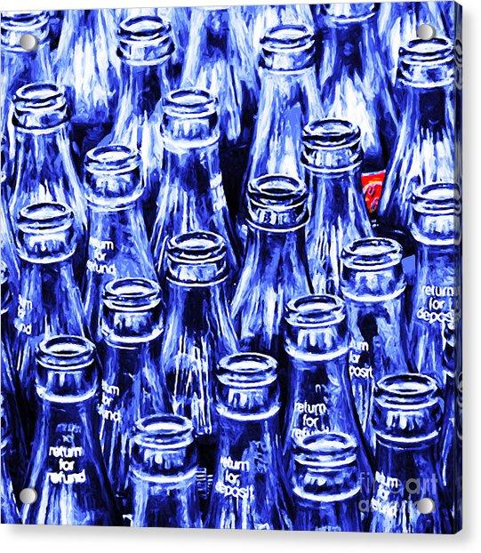 Coca-cola Coke Bottles - Return For Refund - Square - Painterly - Blue Acrylic Print