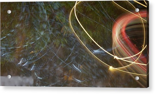 Acrylic Print featuring the pyrography Colliding Worlds  by Michael Lucarelli