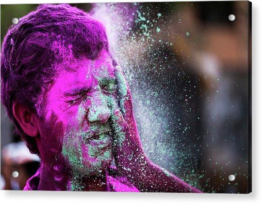 Color Splash During Holi Festival, India Acrylic Print