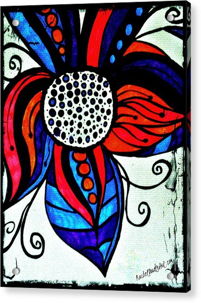 Acrylic Print featuring the drawing Colorful Flower by Rachel Maynard