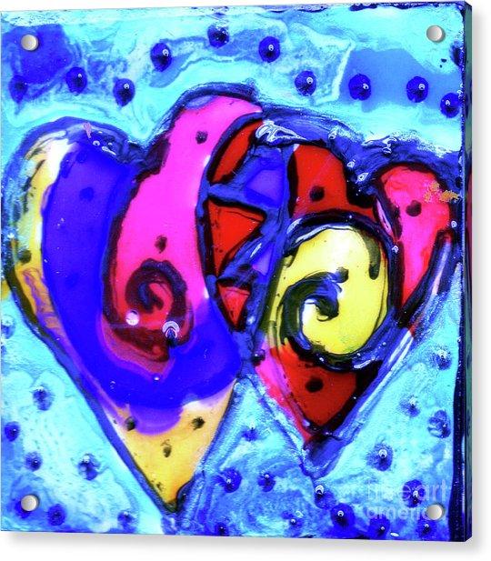 Colorful Hearts Equals Crazy Hearts Enamel Magnet Acrylic Print