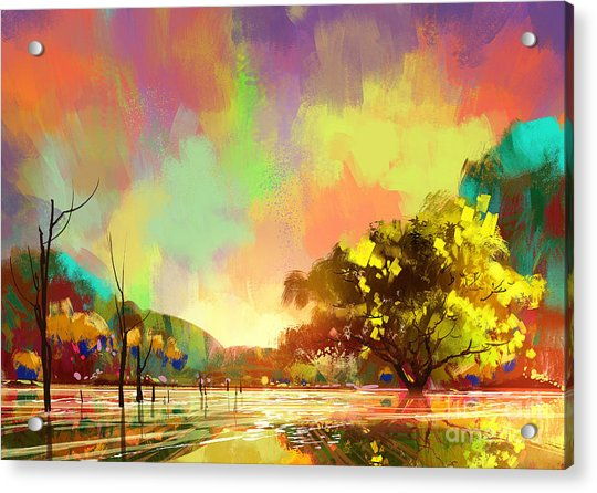 Acrylic Print featuring the painting Colorful Natural by Tithi Luadthong