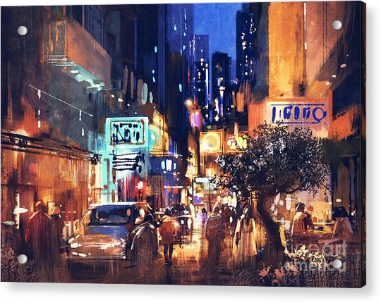 Acrylic Print featuring the painting Colorful Night Street by Tithi Luadthong