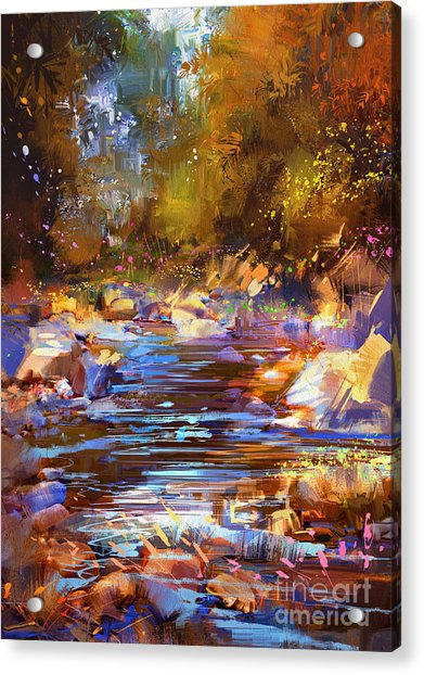 Acrylic Print featuring the painting Colorful River by Tithi Luadthong