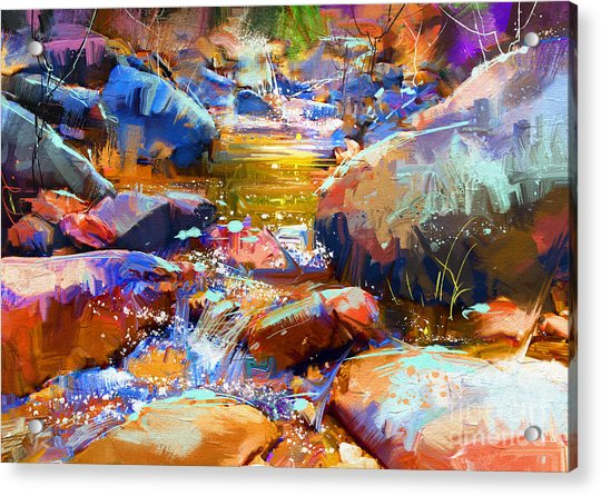 Acrylic Print featuring the painting Colorful Stones by Tithi Luadthong