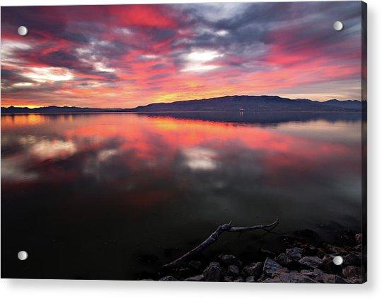 Colorful Utah Lake Sunset Acrylic Print