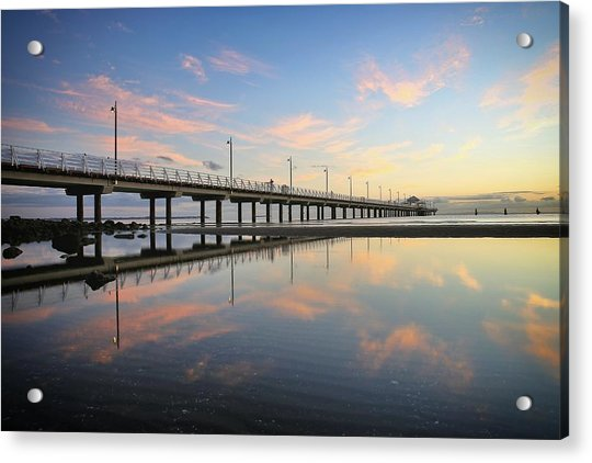 Colourful Cloud Reflections At The Pier Acrylic Print