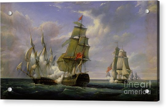Combat Between The French Frigate La Canonniere And The English Vessel The Tremendous Acrylic Print