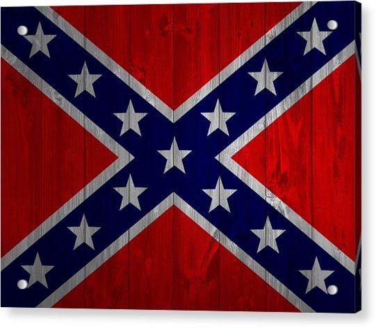 Confederate Flag Barn Door Acrylic Print