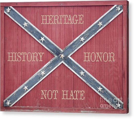 Confederate Flag On Wooden Door Acrylic Print