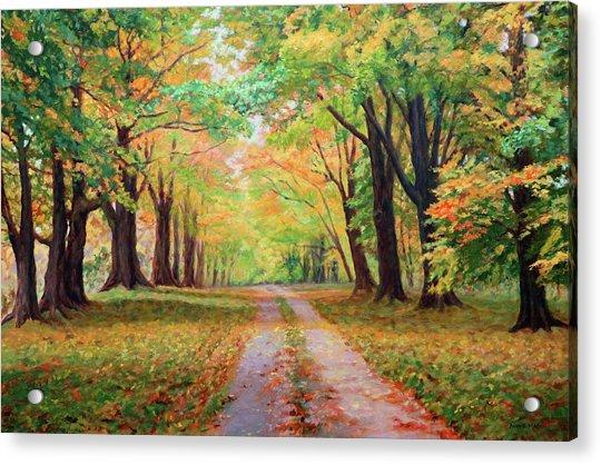 Country Lane - A Walk In Autumn Acrylic Print