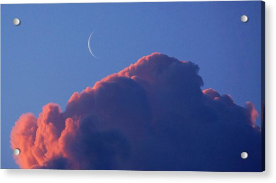 Crescent Moon In The Pink Acrylic Print