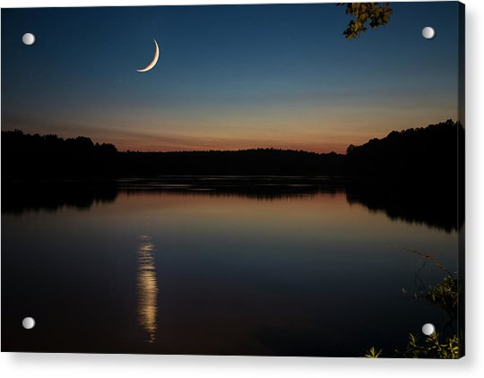 Acrylic Print featuring the photograph Crescent Moon Set At Lake Chesdin by Jemmy Archer