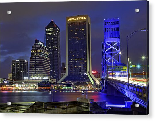 Acrylic Print featuring the photograph Crossing The Main Street Bridge - Jacksonville - Florida - Cityscape by Jason Politte