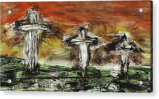 Acrylic Print featuring the painting Crucifixion #2 by Michael Lucarelli