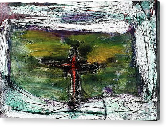 Acrylic Print featuring the painting Crucifixion #3 by Michael Lucarelli