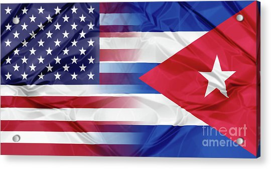 Cuba And Usa Flags Acrylic Print