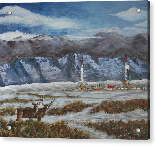 Deer And Drilling Rig Acrylic Print by Karen Peterson