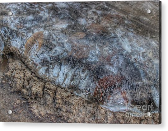 Delaware River Ice With Leaves Acrylic Print