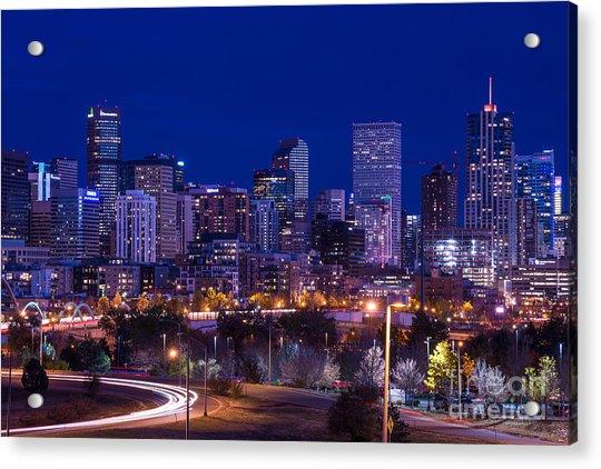 Denver Skyline At Night - Colorado Acrylic Print