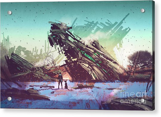 Acrylic Print featuring the painting Derelict Ship by Tithi Luadthong