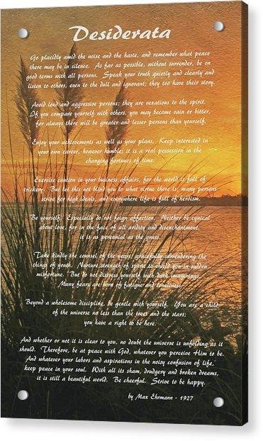 Desiderata - Go Placidly Acrylic Print