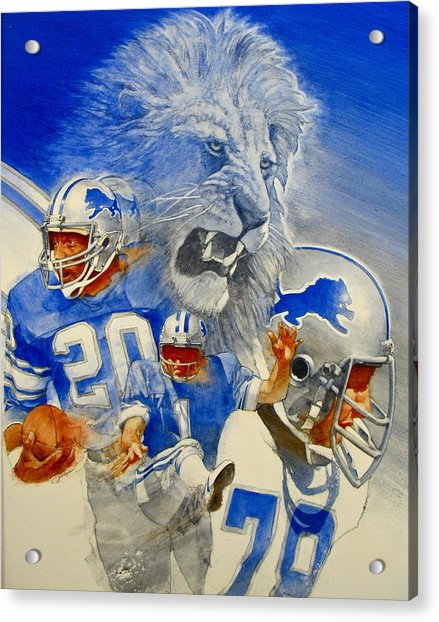 Acrylic Print featuring the painting Detroit Lions Game Day Cover by Cliff Spohn