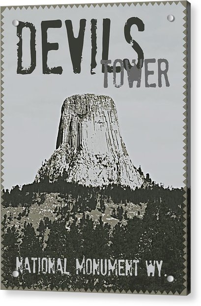 Devils Tower Stamp Acrylic Print