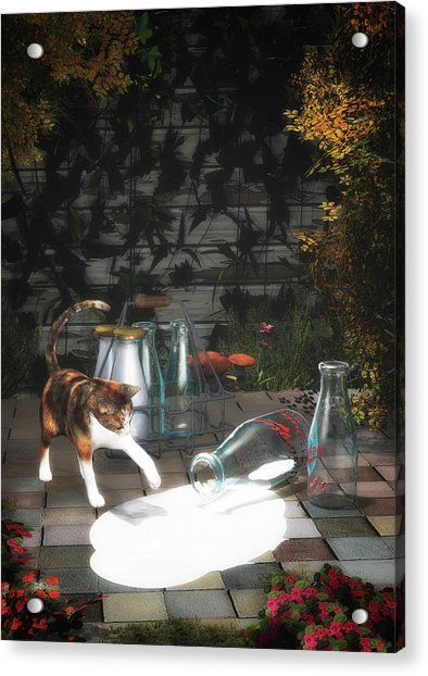 Acrylic Print featuring the painting Discovering Milk by Jan Keteleer