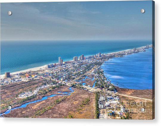 Distant Aerial View Of Gulf Shores Acrylic Print