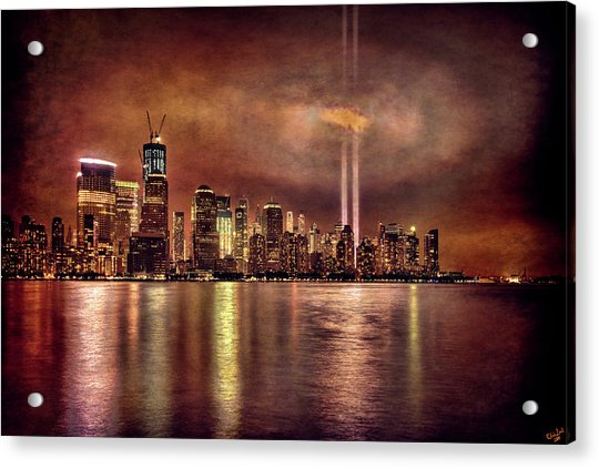 Acrylic Print featuring the photograph Downtown Manhattan September Eleventh by Chris Lord