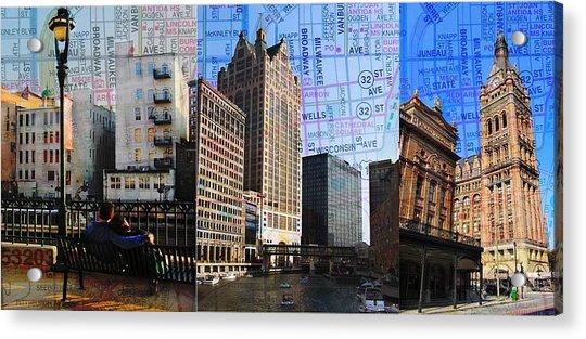 Downtown Trio W Map Acrylic Print