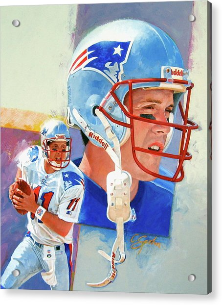 Acrylic Print featuring the painting Drew Bledsoe by Cliff Spohn