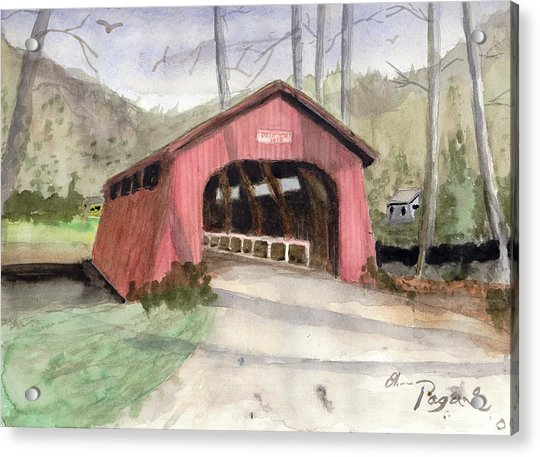 Drift Creek Covered Bridge Watercolor Acrylic Print