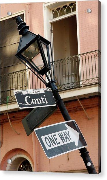 Drunk Street Sign French Quarter Acrylic Print
