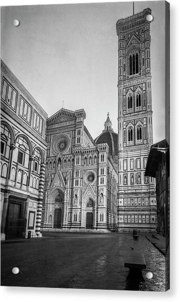 Early Morning Piazza Del Duomo Florence Italy Bw Acrylic Print