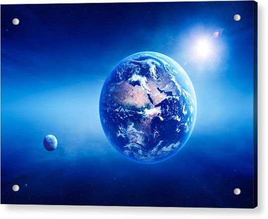 Earth Sunrise Deep Space Acrylic Print