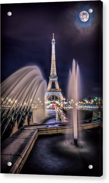 Acrylic Print featuring the photograph Eiffel And The Fountain by Kevin McClish