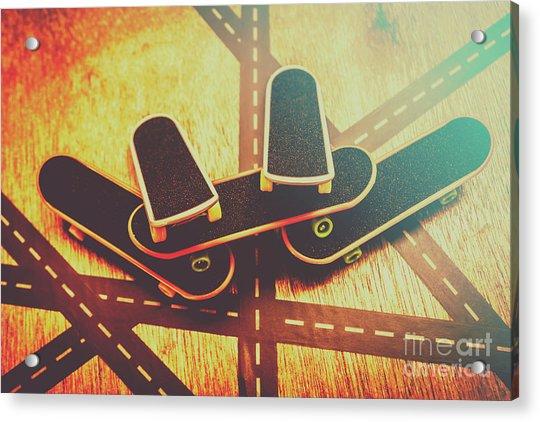 Eighties Street Skateboarders Acrylic Print