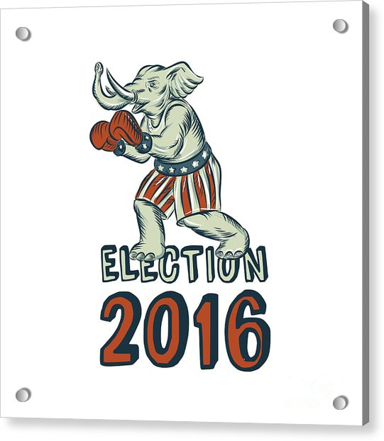 Election 2016 Republican Elephant Boxer Etching Acrylic Print