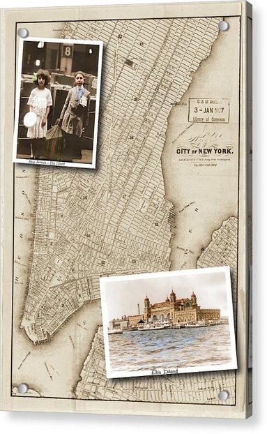 Ellis Island Vintage Map Child Immigrants Acrylic Print