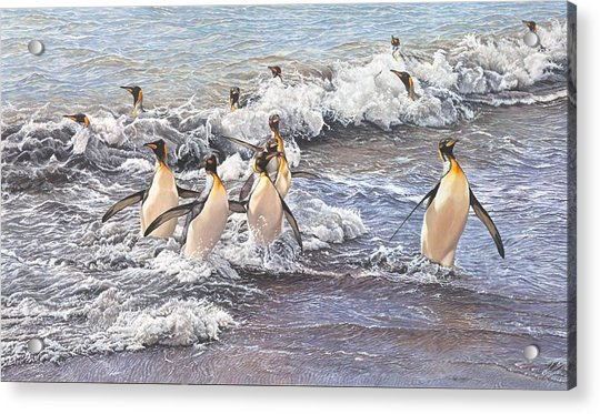 Acrylic Print featuring the painting Emperor Penguins by Alan M Hunt