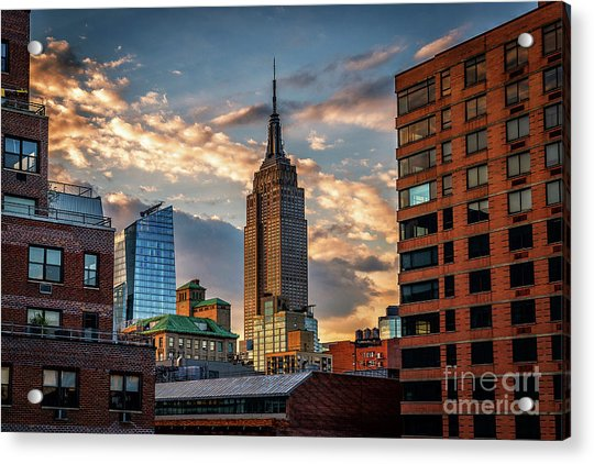 Empire State Building Sunset Rooftop Acrylic Print