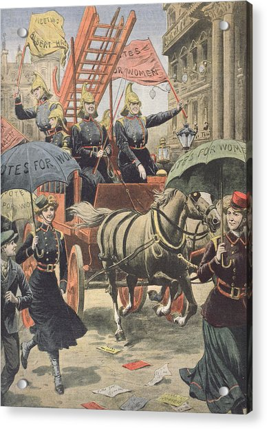 English Suffragettes Dressed As Firemen Acrylic Print